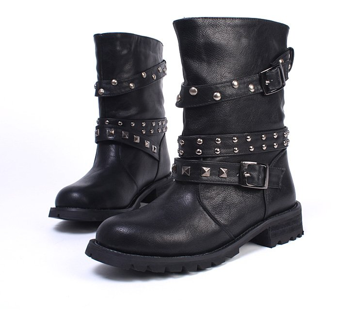 Women Black Combat Boots - Cr Boot