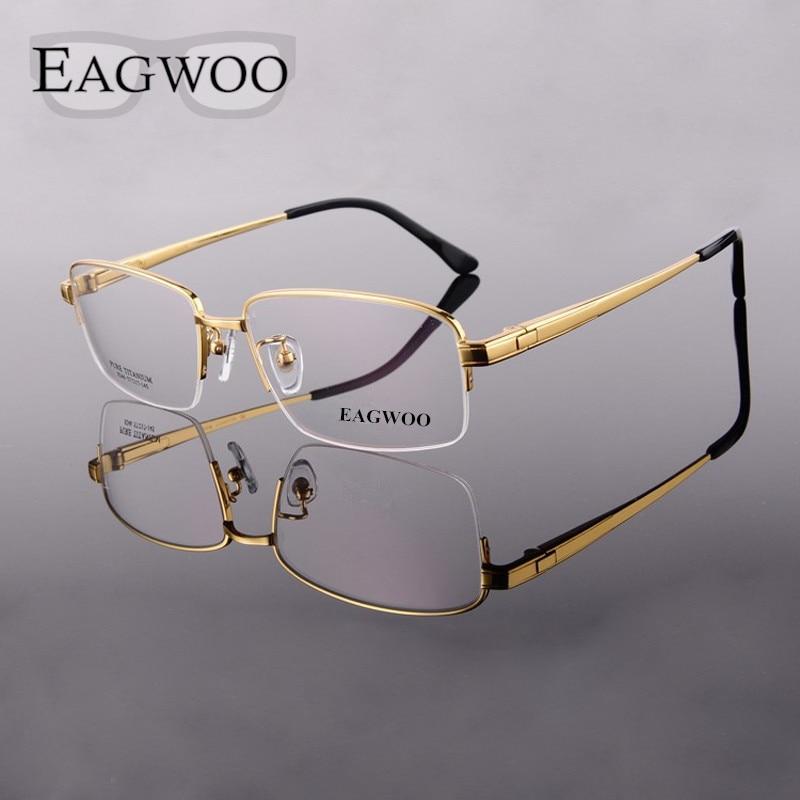 Pure Titanium Eyeglasses Frame Men Half Rim Optical Frame ...