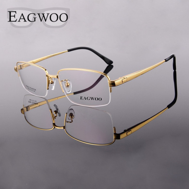 e82c99dd5b Pure Titanium Eyeglasses Frame Men Half Rim Optical Frame Prescription  Reading Glasses Big Wide Face Spectacle Eyewear 12846