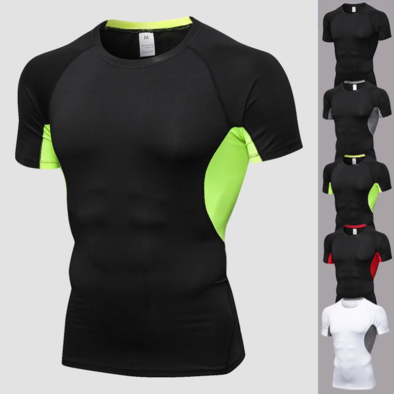 running - Quick Dry Slim Fit Tees Men Patchwork Mesh T-Shirts Compression Shirt Tops Gym Bodybuilding Fitness O-Neck Short Sleeve T Shirt