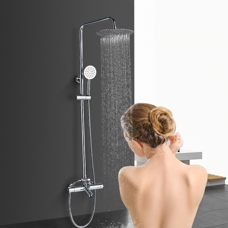 POIQIHY 10 Ultrathin Brass Shower head Thermostatic Bathroom Shower Set Faucet Convertible height shower set convertible strap graphic bikini set