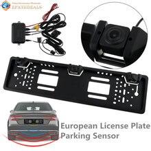 HD Auto Parktronic Auto UE License Plate Frame Videocamera vista posteriore Da 170 Gradi CCD Retromarcia Telecamera di Backup con 2 Sensori di Parcheggio