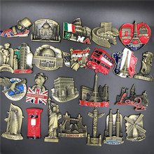 Metal Refrigerator Sticker Famous Scenery From All Over the World US Italy Belgium India Israel Magnetic Fridge Sticker Souvenir