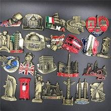 Metallo Frigorifero Sticker Famoso Paesaggio Provenienti Da Tutto il Mondo DEGLI STATI UNITI Italia Belgio India Israele Magnetico Frigo Sticker Souvenir