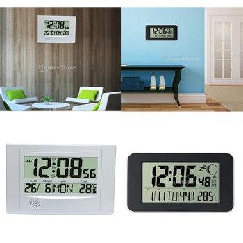 Reloj calendario Digital LCD despertador Despertador con temperatura reloj tranquilo disponible en 2 colores