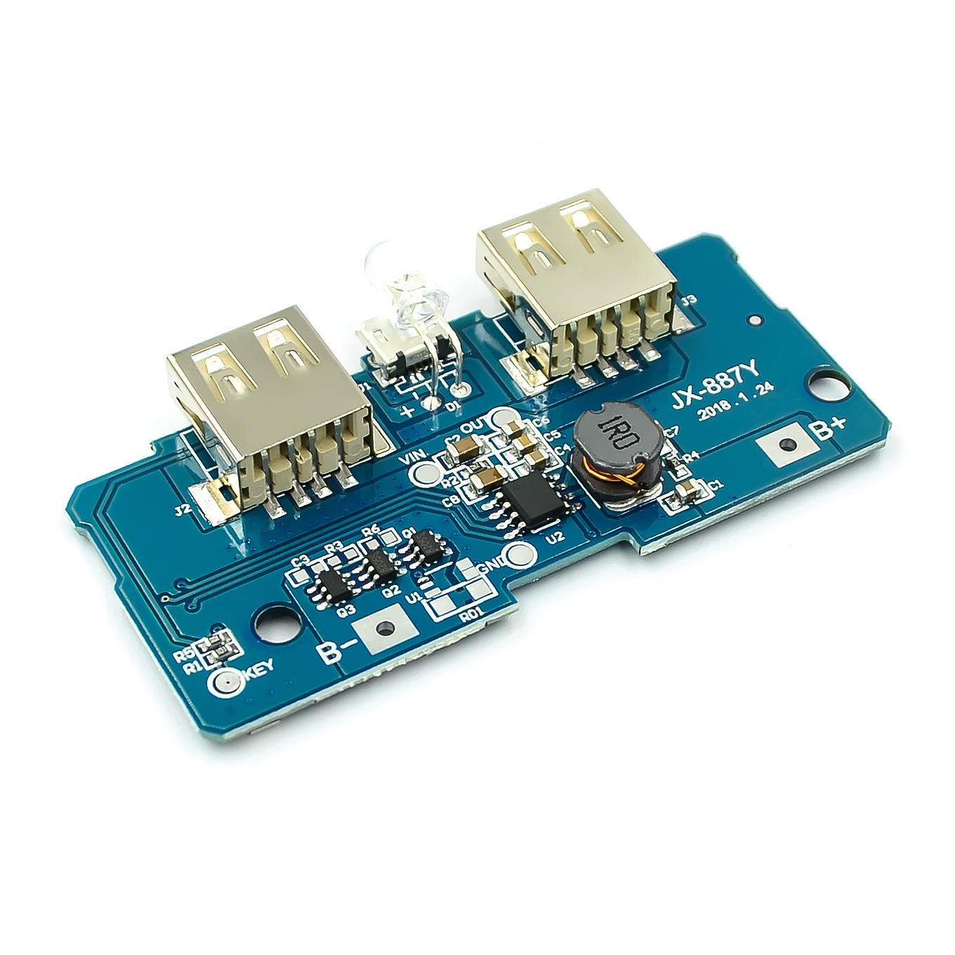 5V 2A Power Bank Charger Module Charging Circuit Board Step Up Boost Power Supply Module 2A Dual USB Output 1A Input