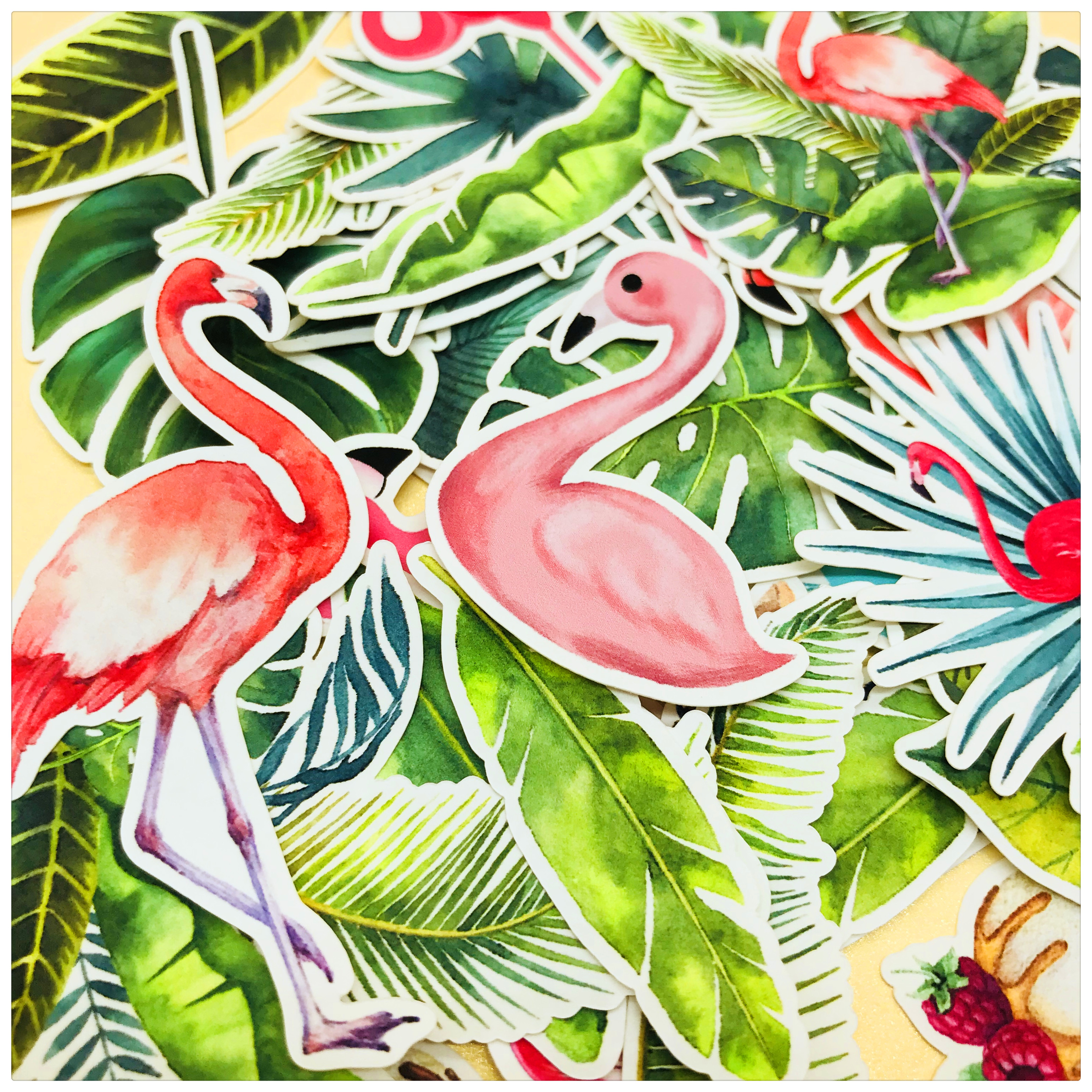 35pcs Cute Flamingo And Big Leaf Plant  Decoration Stationery Sticker Diy Diary Scrapbooking Label Sticker Stationery