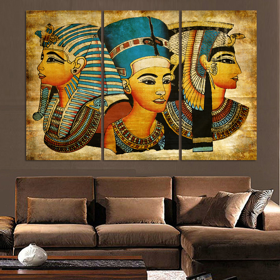 3 Pieces Pharaoh Of Ancient Egypt Wall Art Picture Home Decoration Living Room Canvas Print Wall