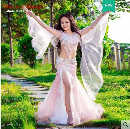 Children s Professional Belly Dance Show Costume High grade Mesh Oriental Dance Bra Skirt 2PCS Luxury