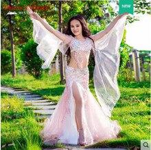 Traje de espectáculo de danza del vientre profesional de los niños de alta calidad malla Oriental danza Bra + falda 2 uds conjunto de lujo