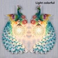 220 В Европейская мода павлин декоративные настенные лампа творческая гостиная фон спальня прикроватные проход цвет стены света