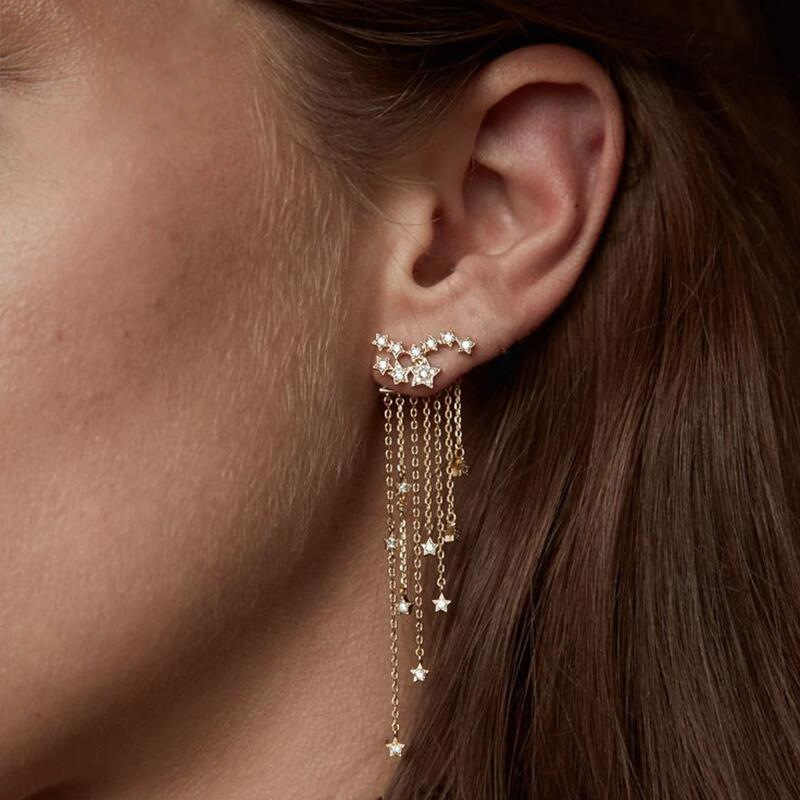 Multilayer Star Dangle Earring Crystal Long Chain Tassel Large Drop Earrings For Women Gold Silver Color Eardrop Fashion Jewelry