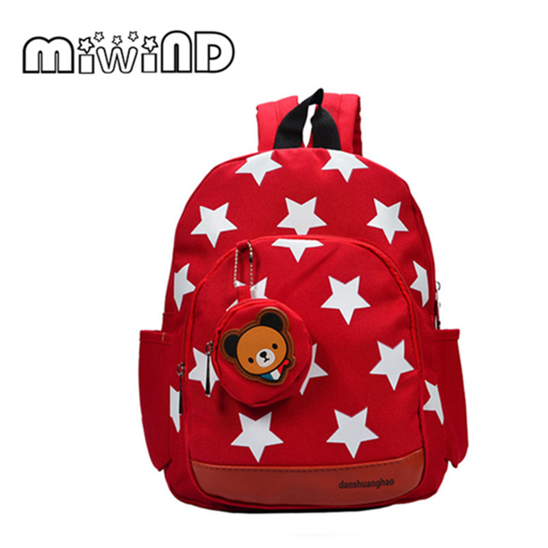 Age 2-5 Child Backpack Oxford Cloth Backpack Five Point Star Kindergarten Bag Free Shipping Free Shipping C14