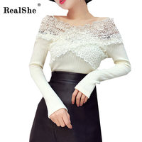 RealShe New Fashion Women T Shirt Female Sexy V Neck Long Sleeve Lace T Shirt Women