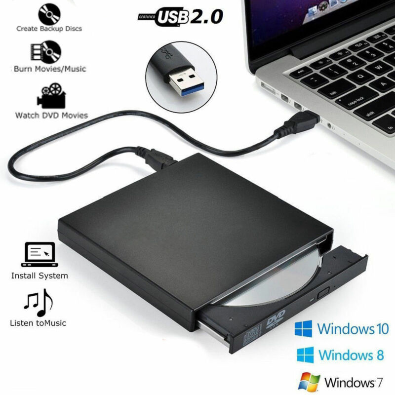 USB 2.0 External Disc Player Combo DVD CD RW Burner Drive For Laptop 3D Writer Reader Recorder Portable For Laptop Windows PC