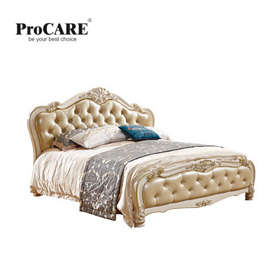 luxury European and American style bedroom furniture set leather bed