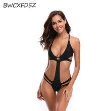 купить BWCXFDSZ One Piece Swimsuit Swimwear Beach Swim Wear Women Triquini Trikini Solid Color Bandage Swimming Bathing Suit Monokini по цене 1263.55 рублей