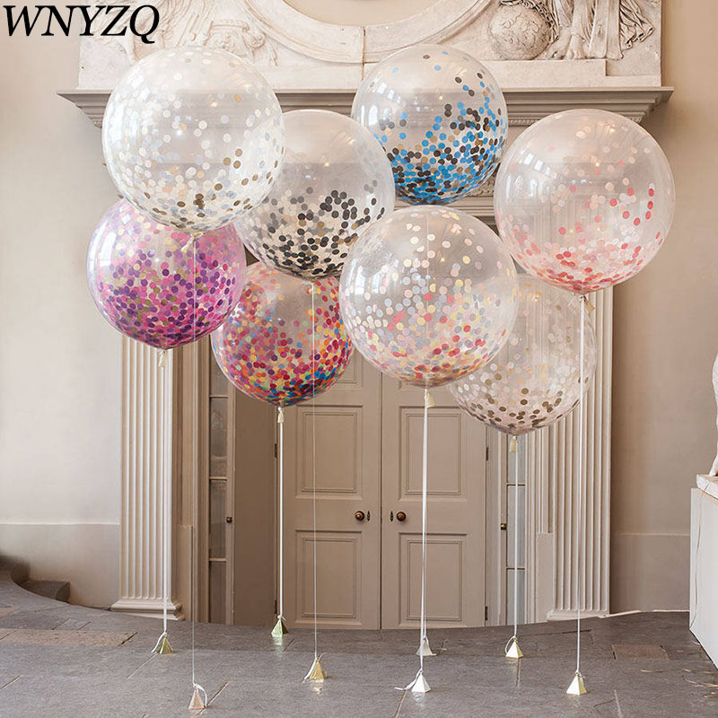 36Inch Large Balloon Decor Wedding Confetti For Birthday Party Festival Baby Shower Supplies Clear Latex Inflatable Ball