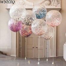 Grand ballon pour décoration de mariage, 36 pouces, avec confettis, fournitures pour fête danniversaire et fête prénatale, boule gonflable en Latex transparent