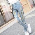 2016 Новый Женский Голубой Высокой Талии Отверстия Рваные Джинсы Женский Джинсовые брюки женские Джинсы для Женщин Брюки для Женщин Плюс Большой Размер