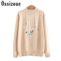 Ladies Sweaters Coat Tops Knitted Women Sweater Autumn Winter Female Pullovers With Cartoon Pattern Lantern Sleeve