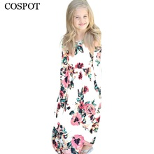 COSPOT 2018 New Girls Dress Baby Dresses Beach  Bohemian Summer Floral Princess Party Long Sleeve Dress for Girl 10-12Years C50