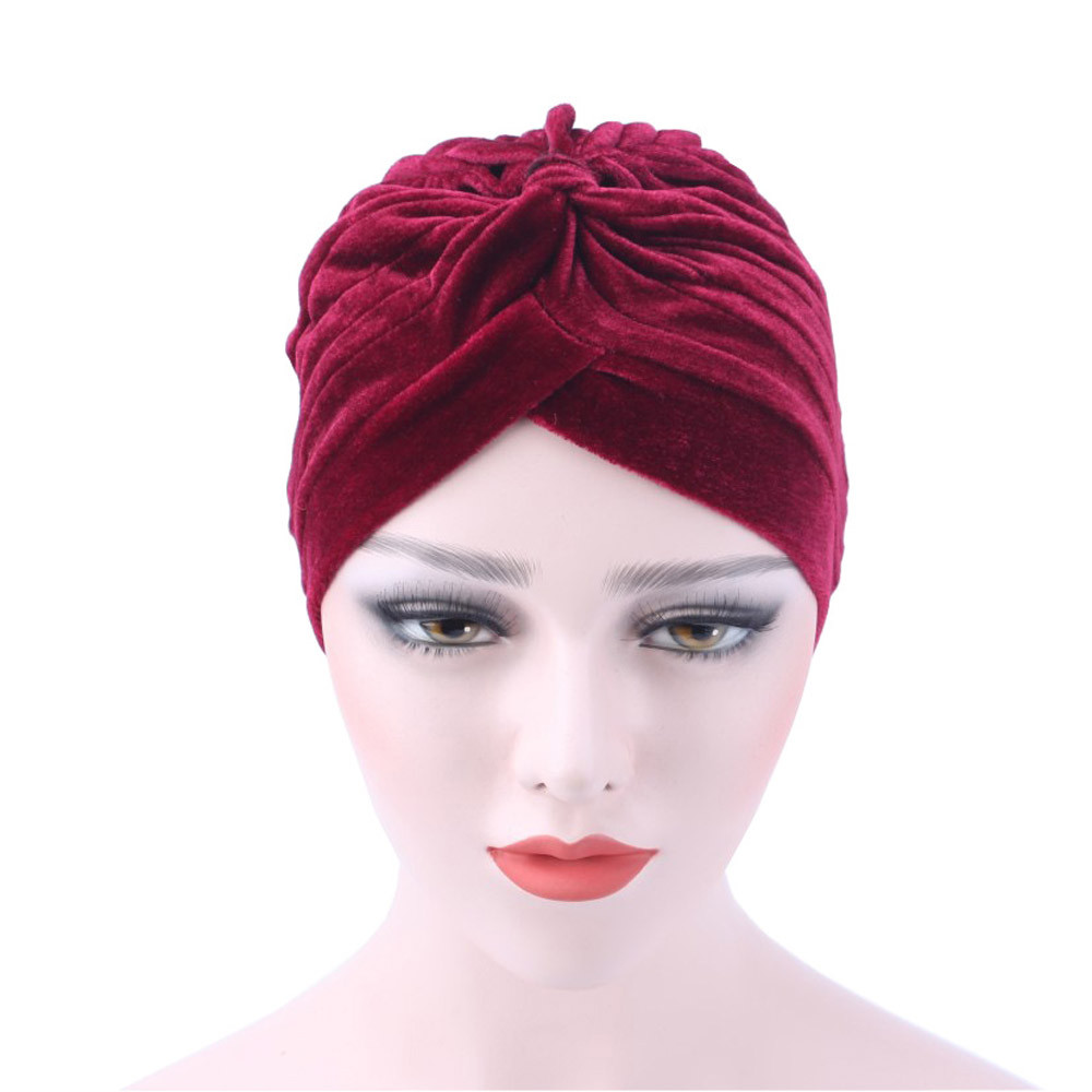 2018 Women Hat Ladies Velvet Muslim Ruffle Cancer Chemo Hat Beanie Scarf Turban Head Wrap Cap Casual Cotton Hat For Women C0411