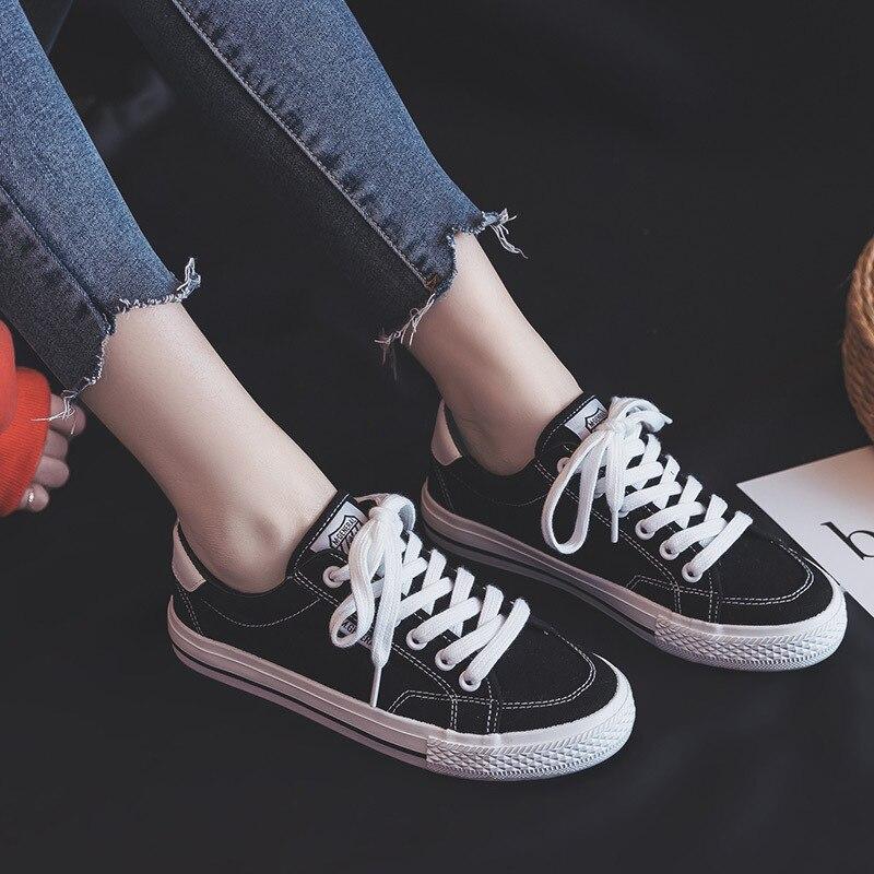 Moda El La Cómoda Aire 2019 De Plana Zapatos Suela Transpirables Otoño Primavera Negro azul blanco rosado Mujer Nuevo Lona Planos Baitao Y rrnWpBS