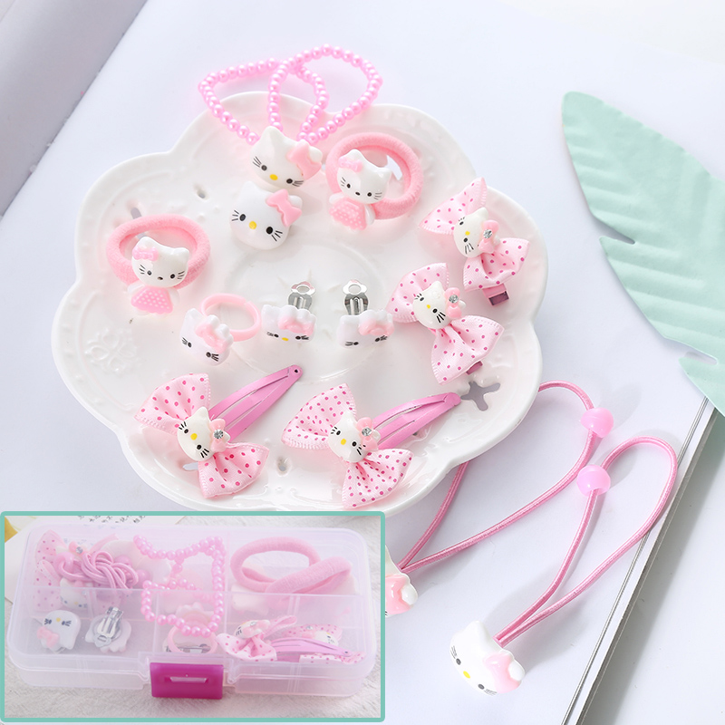 13pc/1 set cute girls Hair Band Hello Kitty hair accessories elastic hair bands Girl hair clip Gum kids gifts Headwear 12pc set elastic hair rubber band children hair unicorn headband kids hair accessories gril hair band set cute unicorn cartoon