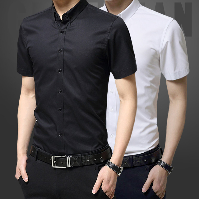 Verano camisa de manga corta Hombre blanco negro Delgado