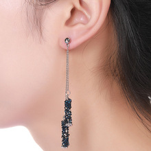 Korean Fashion New Earrings Creative Geometric Temperament Blue Crystal Tassel Ladies Long Manufacturers Wholesale
