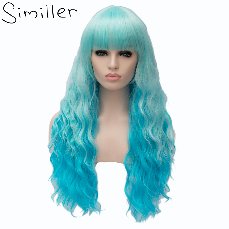 Similler Cosplay Synthetic Long Deep Wave Ombre Wigs Heat Resistant Fiber Blue Roots For ...
