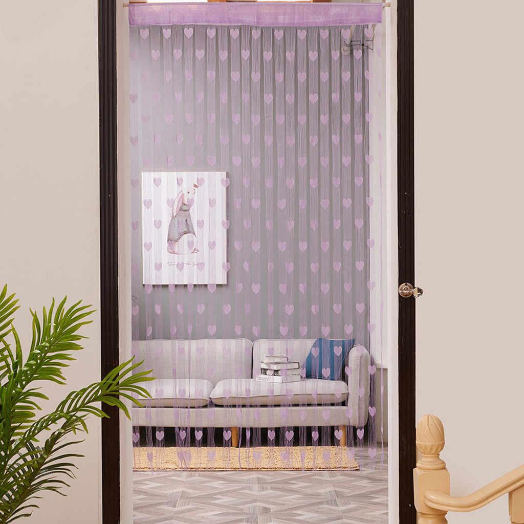 אהבת לב מחרוזת וילון חלון דלת מחיצת Sheer וילון אלאנס וילונות לסלון דלת קורטינה 50x200cm /100x200cm