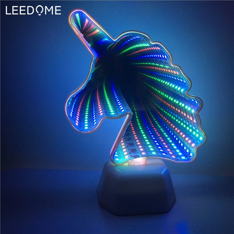 Leedome 3D Creative Novelty Cactus Unicorn Tunnel Lamps Infinity Mirror Light LED NightLamp Cute Heart Night Light For Home Led