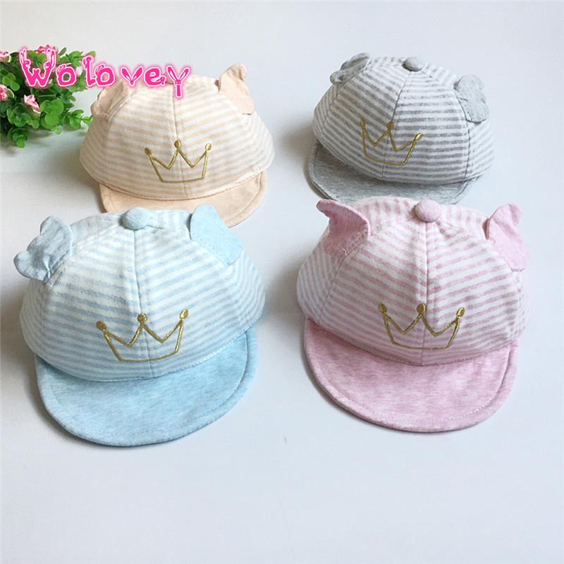 Wolovey#20 2017 New Style Child Kid Baby Lovely Cute Crown Striped Soft Brim Flanging Sun Hat Baseball Peaked Cap Breathable