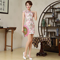 Summer Chinese Traditional Dress Summer Style Fashion Vintage Cheongsam Qipao Elegant Short Printed Party Dress Women Clothing