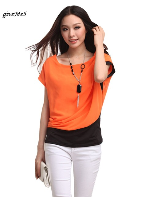 New Fashion Women's Loose Splicing Short Sleeve Chiffon T Shirt Casual Tops  With Necklace