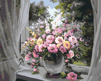 Europe Style Flower Frameless Pictures DIY Digital Canvas Oil Painting Painting By Numbers Home Decoration GX7343