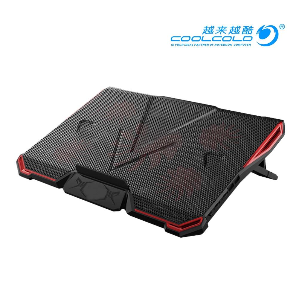 COOLCOLD 5 FAN 2 USB Laptop Cooling Pad Adjustable Notebook Cooler +Holder for 12-17' Laptop usb fan 3 fan usb powered aluminum laptop cooling pad