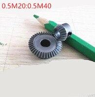 1 пара 1:2 конические Шестерни 0,5 Модуль 20 Зубы отверстие 5 с 40 зубьями печатная плата 6 90 градусов привод коммутации Сталь Зубчатый редуктор от...