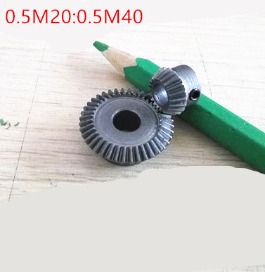 1 pair 1:2 Bevel Gear 0.5 Modulus 20 Teeth hole 5 with 40 Teeth hole 6 90 Degree Drive Commutation Steel Gears Screw Hole M4