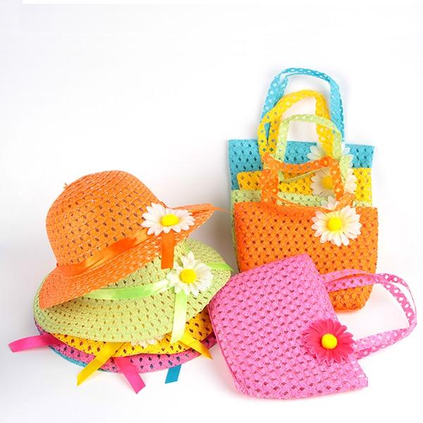ladyhouse Store Summer Cute Hat Girl Kids Beach Hat Bag Flower Straw Hat Cap Tote Handbag Bag Suit