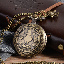Cindiry New Arrival Retro A in Wonderland Theme Bronze Quartz Pocket Watches Vintage Fob Watches Christmas Brithday Gift P20