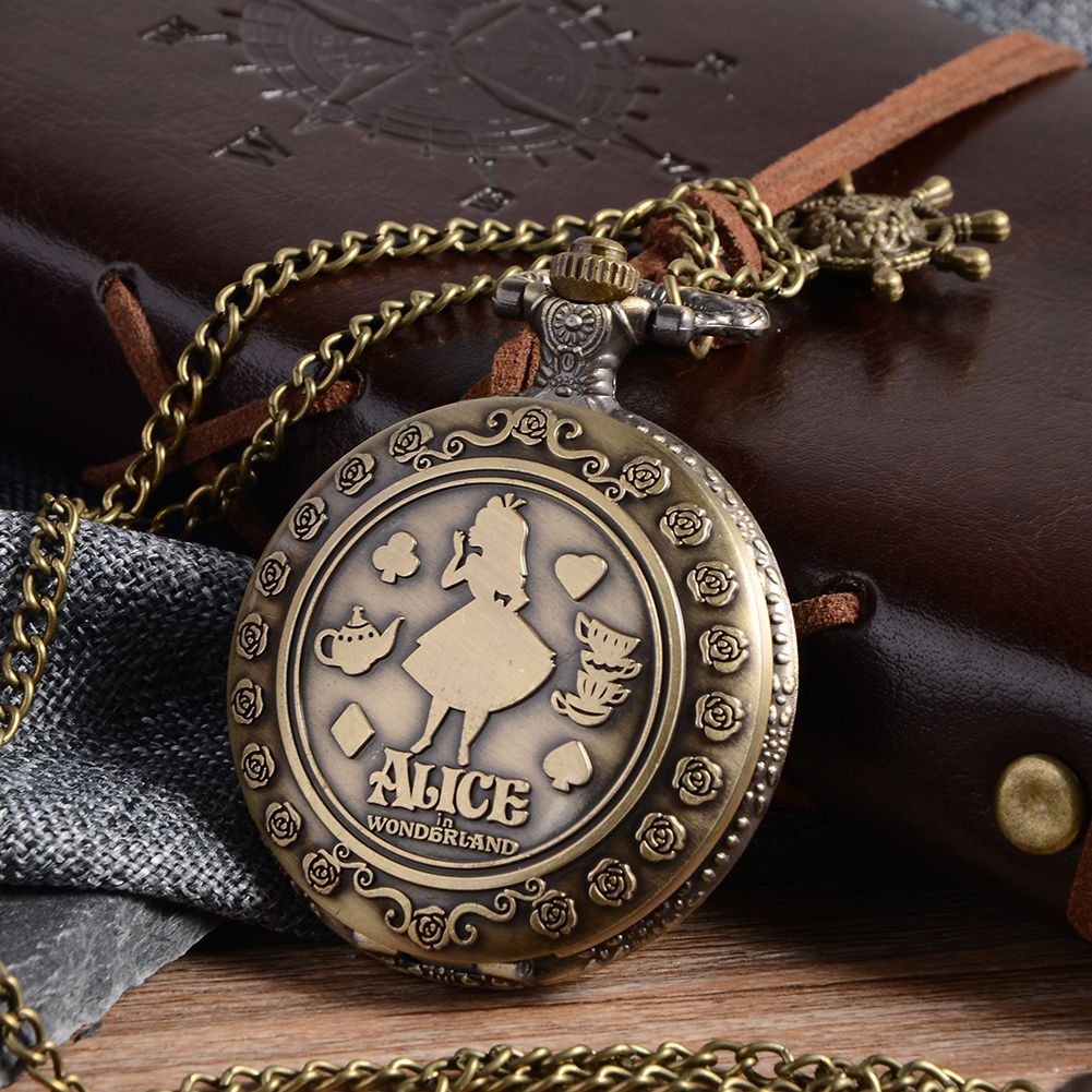 Cindiry New Arrival Retro A in Wonderland Theme Bronze Quartz Pocket Watches Vintage Fob Watches Christmas Brithday Gift P20 new arrival retro bronze doctor who theme pocket watch