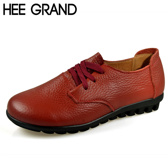 HEE GRAND Female Lace-up  Shoes Woman Mothers' Shoes Spring Autumn & Winter Flats Heel Shoes Comfortable and Fashion XWP029