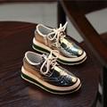 Супер-звезды девушки кроссовки серебристый металлик известных дизайнеров shoes для малыша девочка производительность моды повседневная обувь молния