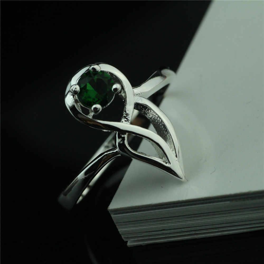 925 סטרלינג כסף טבעת twisted קריסטל יוקרה פשוט נשי טבעת חדש אירוסין מתנה