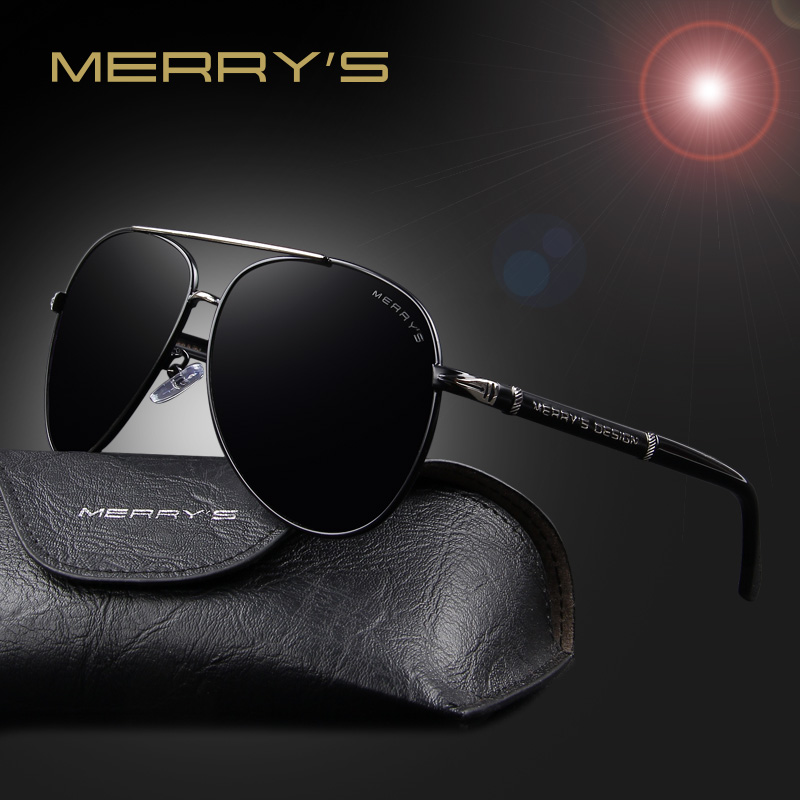MERRY'S Fashion Classic Brand Design Solglasögon Män HD Polariserade Aluminium Driving Solglasögon för Män Luxury Shades UV400 S'8728
