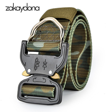 zakaydona Tactical Belt For Men Outdoor Kemer Automatic Buckle Green Military Male Pants Nylon Canvas Army 125CM 6001