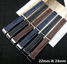 NAVITIMER WORLD Avenger/navitimer belt 22mm 24mm 로고 용 Breitling strap 용 고급 정품 가죽 시계 밴드 시계 밴드